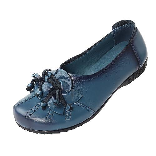 a689acc97 Mordenmiss Women's Fall New Flat Flower Pattern Shoes