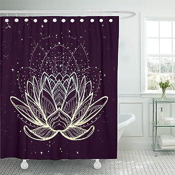 72X72/'/' SPA ZEN Lotus Shower Curtain Sets Fabric Bathroom Waterproof /& 12 Hooks