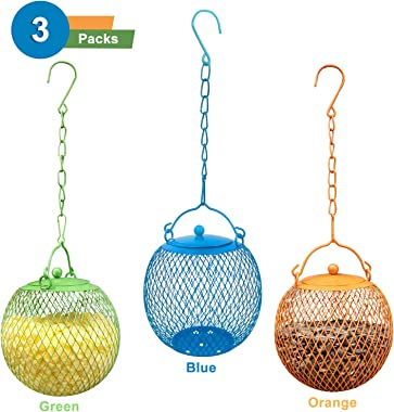 Urban Deco Set of 3 Bird Feeder Seed Ball Sunflower Feeder Squirrel Proof Bird Feeders for Outside,Set of 3 Green,Blue,Orang