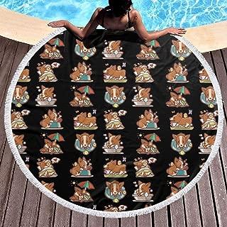 Allgobee Round Beach Towel Cartoon Corgi Welsh Emoticon Large Blanket with Tassels Ultra Soft Multi-Purpose Beach Throw 59 Inch