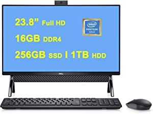 "Dell Inspiron 24 5000 5400 Premium All-in-one Desktop Computer I 23.8"" FHD I Intel Pentium Gold 7505 Processor I 16GB DDR4 256GB SSD + 1TB HDD I USB-C WIFI6 Win10 Black"