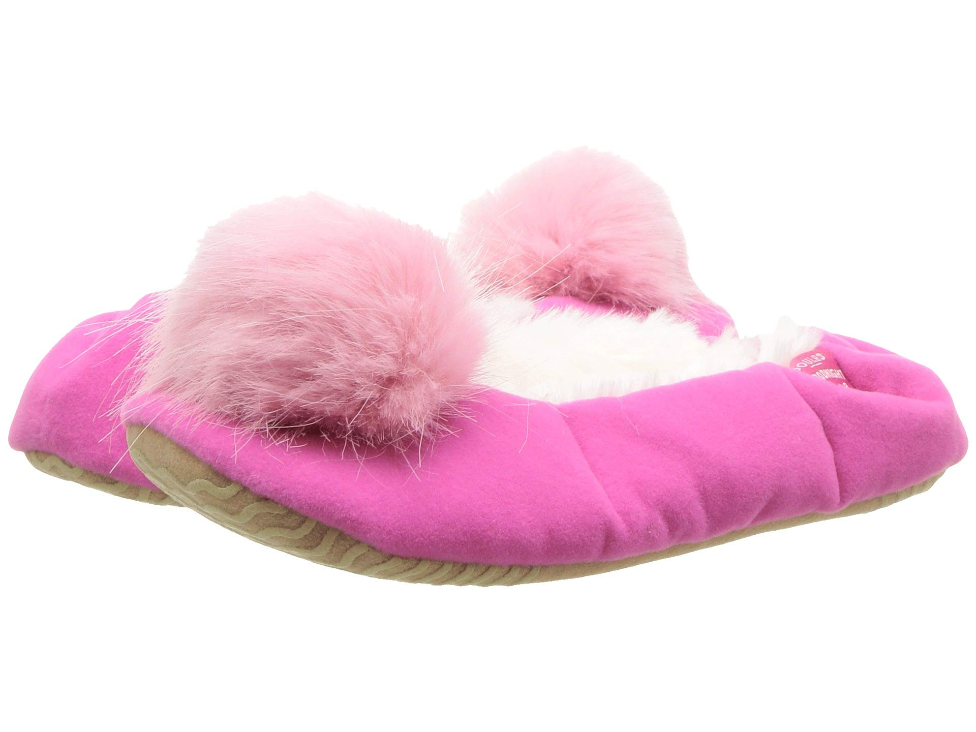 joules kids velvet ballet slipper with pom pom (toddler/little kid)