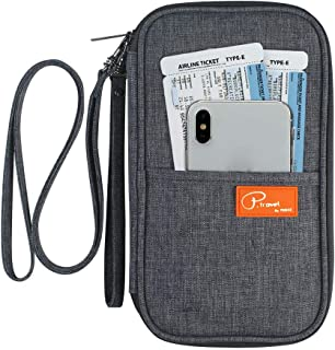 FLYMEI Multifunctional Travel wallet Passport Wallet with Hand Strap Passport Holder Travel Organizer Wallet for Card Money Ticket Mobile - Gray