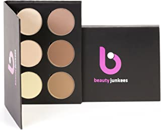 Powder Contour Highlight Makeup Palette – 6 Color Face Pallete Make Up Contouring Kit for Beginners, Concealer, Bronzer, Highlighter, Professional Quality, Paraben Gluten Cruelty Free Cosmetics USA