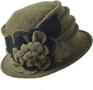 FORBUSITE Women Floral Wool Cloche Winter Hat
