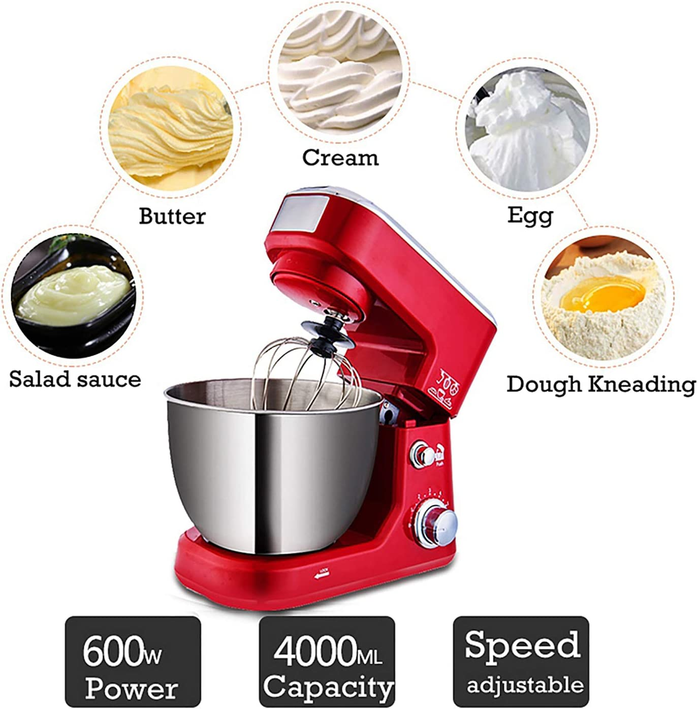 600 W professionele mixer/keuken elektrische mixer/keukenmachine mixer, met 3 l roestvrijstalen kom, eierklopper en deeghaak (6 snelheden) Red