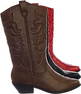 SODA Calf High Cowboy Cowgirl Boots - Pointed Toe Block Heel Western Embroidered Dark Tan
