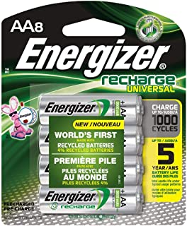 Rechargeable AA Batteries, NiMH, 2000 mAh, Pre-Charged, 4 Count (Recharge Universal) - Pack of 2