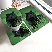 Black Panther Cat Laying in Grass Bathroom Rug Mats Set 3 Piece Anti-Skid Pads Bath Mat + Contour + Toilet Lid Cover