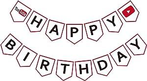 Maplelon YouTube Inspired Birthday Banner, Happy Birthday You Tube Sign, Social Media Bday Party Decor