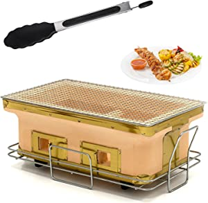 Japanese Charcoal Grill, Hibachi Ceramic Clay Grill Rectangular Tabletop BBQ Charcoal Grill Stove Yakatori Cooker with Food Tongs for Outdoor Indoor (Yellow)