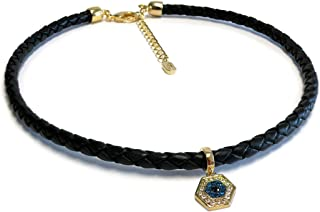 Choker Lucky Evil Eye Pendant with Adjustable Chain Extender in Black, White and Camel Leather for Women - Best Gift for Friends and Family