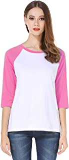 Cotton Crew Neck 3/4 Sleeve Jersey Shirt Baseball Tee Raglan T-Shirts