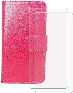 YZKJ Cover för HTC Desire 19s (6,2 tum) fodral [2 delar] pansarglas skyddsfilm, flip PU läderfodral mobilfodral plånbok vä...