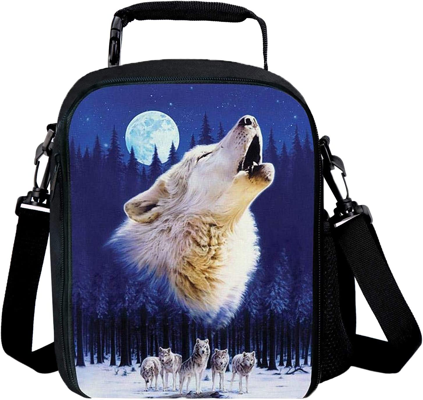 Insulating Thermal Wolf Animal Print Lunch Bags for Kids Boys Girls Washable Tote Crossbody Lunch Container Food Carrier for School Travel