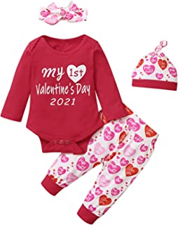 4Pcs Outfit Set Baby Girls My First Valentine's Day Pant Clothing Set
