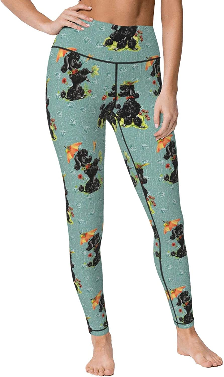Yt92Pl@00 Max 75% OFF Womens Prissy Poodles Green Yoga It is very popular Waist Casual Leg High