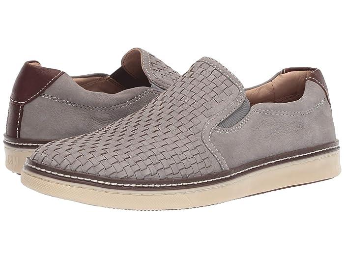 Johnston and Murphy  McGuffey Woven Casual Slip-On Sneaker (Light Gray Tumbled Nubuck) Mens Slip on  Shoes