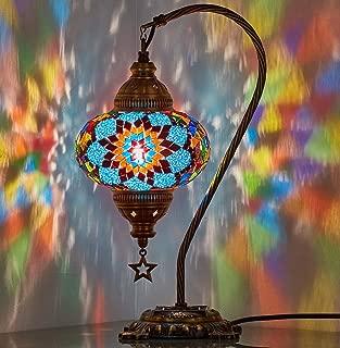 DEMMEX 2019 Turkish Moroccan Mosaic Table Lamp with US Plug & Socket, Swan Neck Handmade Desk Bedside Table Night Lamp, Decorative Tiffany Lamp Light, Blue