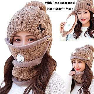 9825bdf0242 Winter Beanie Hat Scarf and Mask Set 3 Pieces Thick Warm Slouchy Knit Ski  Face Mask