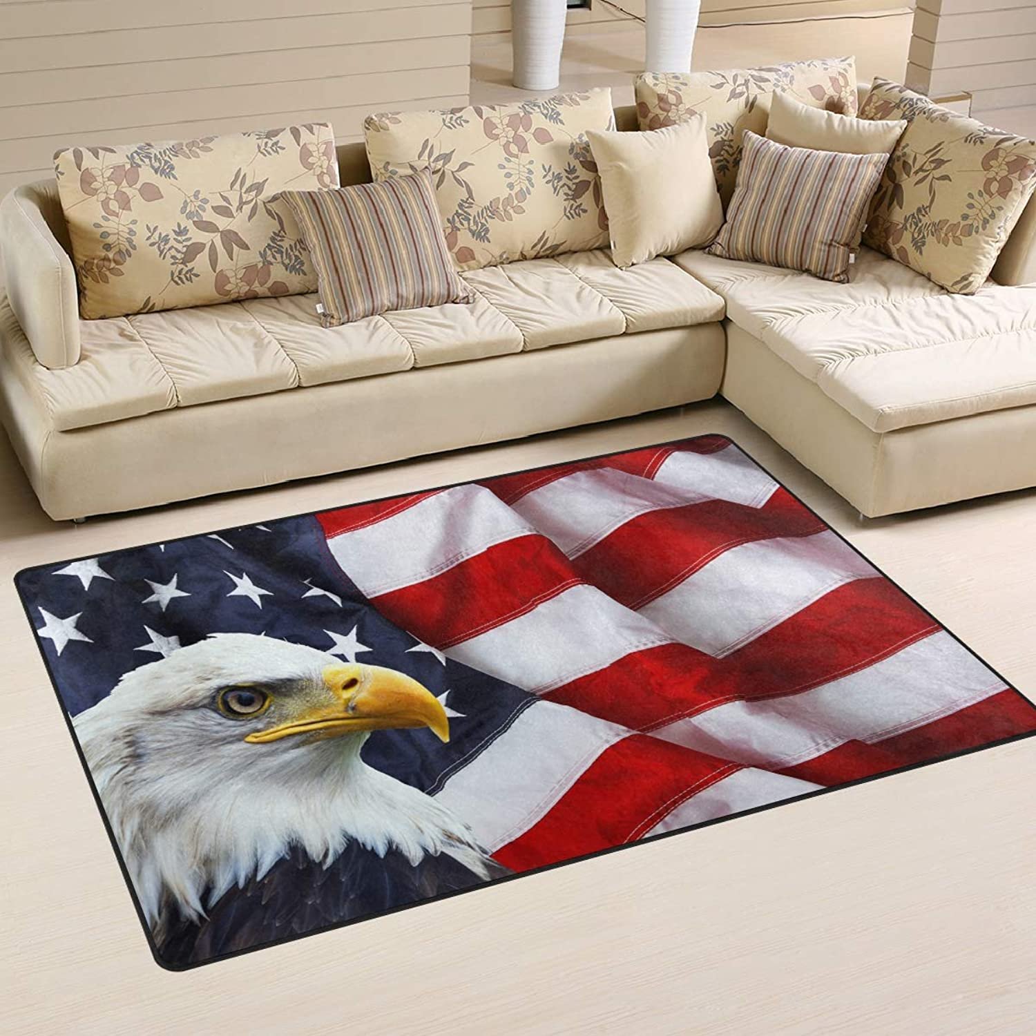 Area Rugs Doormats Eagle and American Flag 5'x3'3 (60x39 Inches) Non-Slip Floor Mat Soft Carpet for Living Dining Bedroom Home