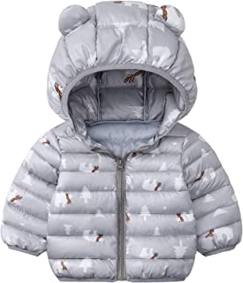 Xifamniy Infant Unisex Babies Cotton-Padded Jacket Cartoon Animals Shape Hooded Coat Gray