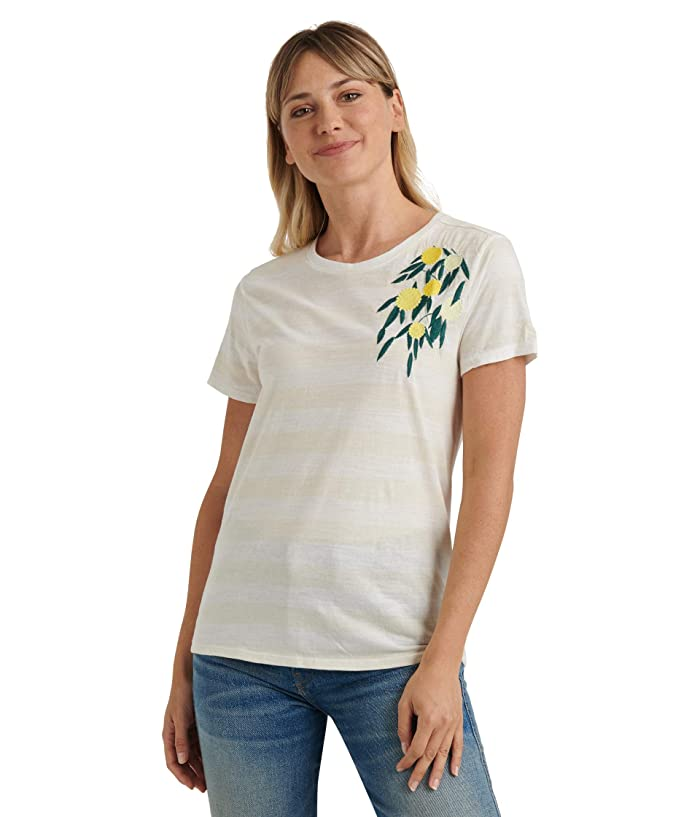 Lucky Brand  Short Sleeve Crew Neck Embroidered Lemon Tee (Oatmeal Heather) Womens Clothing