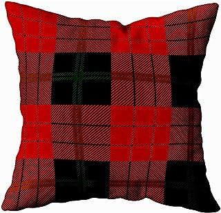 Ducan Lincoln Pillow Case 2PC 18X18,Fundas De Almohada Tela Escocesa De Tartán Negra Roja Patrón Escocés Textura De Manteles Ropa Fundas De Almohada De Sofá,Fundas De Almohada