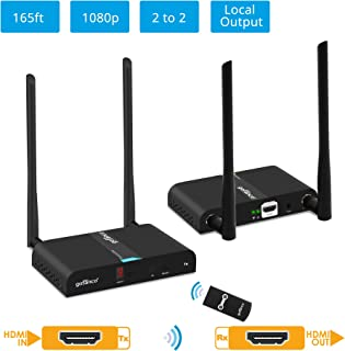 gofanco 1x2 or 2x2 Capable 1080p Wireless HDMI Extender at 165ft (50m) [Expandable Up to 2 TX & 2 RX] with HDMI Loopout on TX, Dual Antenna, 5GHz, 10 Channels, IR extension, Video TV (HDwirelessMulti)