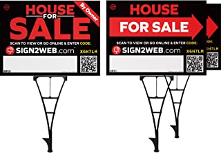 Web Enabled for Sale by Owner Real Estate Kit - NO Commission for Sale Signs - Includes 3 for Sale Signs, 3 Posts with Sales Tools and Resources!