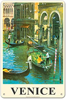 Pacifica Island Art Venice Italy - Venetian Canals - Gondolas - Vintage Travel Poster by Louis Macouillard c.1950s - 8in x...