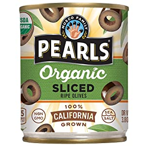 PEARLS Organic, Ripe Sliced Olives, 3.8 oz, 12 - Cans