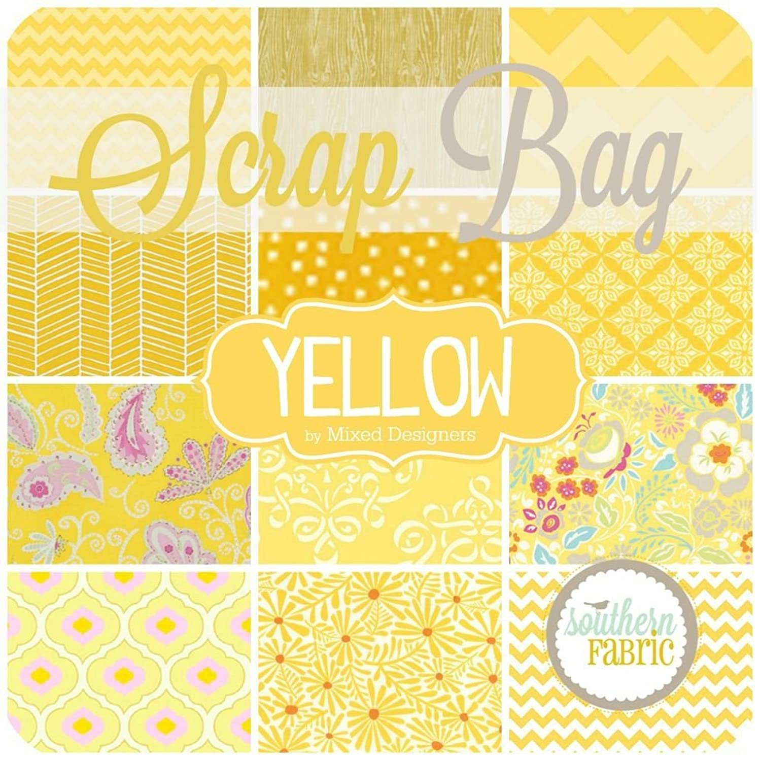 Southern Fabric Yellow Scrap Bag (Approx 2 Yards) by Mixed Designers DIY Quilt Fabric