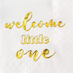 Crisky Gold Baby Shower Paper Napkins Welcome Little Baby for Baby Shower Beverage Dessert Candy Table Decorations Party Supplies, 50 Count, 3-Ply