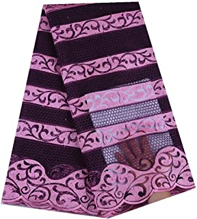 African Lace Fabric 2019 Embroidered Nigerian Laces Fabric French Tulle Lace Fabric for Wedding Party SHIAJUNC (Color : Wine, Size : 5YARDS)