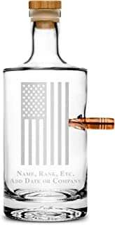 Integrity Bottles Premium .50 Caliber BMG Bullet Bottle, American Flag with Custom Text, Hand Etched 750mL Round Jersey Decanter, Cork Top, Made in USA, Client Gifts, Etched with Honor