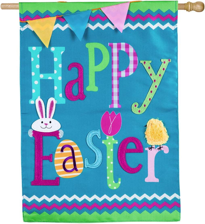 人気ブレゼント! 未使用 Evergreen Flag Beautiful Springtime House Applique Happy Easter