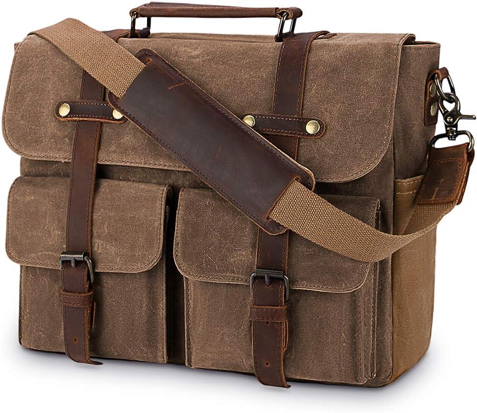 Aktentasche Herren Umhängetasche Leder Canvas Arbeitstasche Schultertasche für Herren, Laptoptasche Messenger Bag für 15,6 Zoll Laptop,Braun