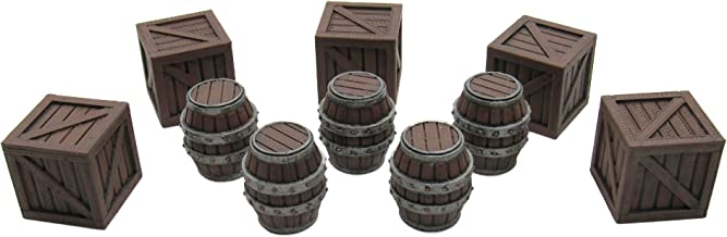 Crates and Barrels, Terrain Scenery for Tabletop 32mm Miniatures Wargame, 3D Printed and Paintable, EnderToys