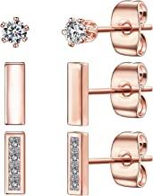 Tiny Stud Earrings for Women, 14K Gold Plated 925 Sterling Silver Bar Earring CZ Simulated Diamond Ear Stud Set Brilliant Cubic Zirconia Inlaid(3 Pairs)