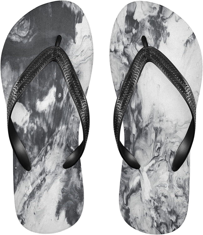 Nander Black Grey Textured Marble Women's Sandal Flip Flops Soft Comfortable Beach Slippers Unisex Adult Durable Flip Flops Shower Shoes