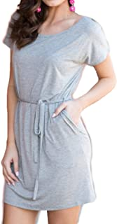 1988 Women's Bamboo Spandex Knitted Dress with Belt and Side Pockets