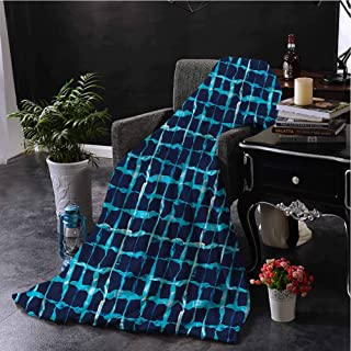 Luoiaax Indigo Commercial Grade Printed Blanket Pool Inspired Design Queen King W54 x L72 Inch