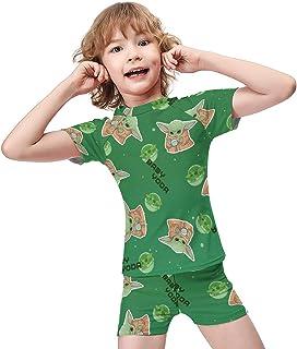 طقم ملابس سباحة للأولاد والبنات مكون من قطعتين ملابس سباحة رائعة للصيف بدلة استحمام مع سروال قصير للأولاد طقم ملابس للأطفال