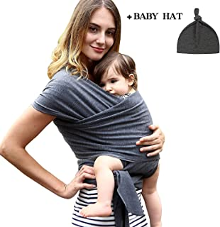 Baby Wrap Carrier Sling Bjorn- for New Born Infant and Babies Up to 35 lbs Many Purpose Including Wrap, Carrier, Sling, Bjorn,K'tan, 95% Cotton/ 5% Spandex Classic Version Dark Grey and Heavy Duty