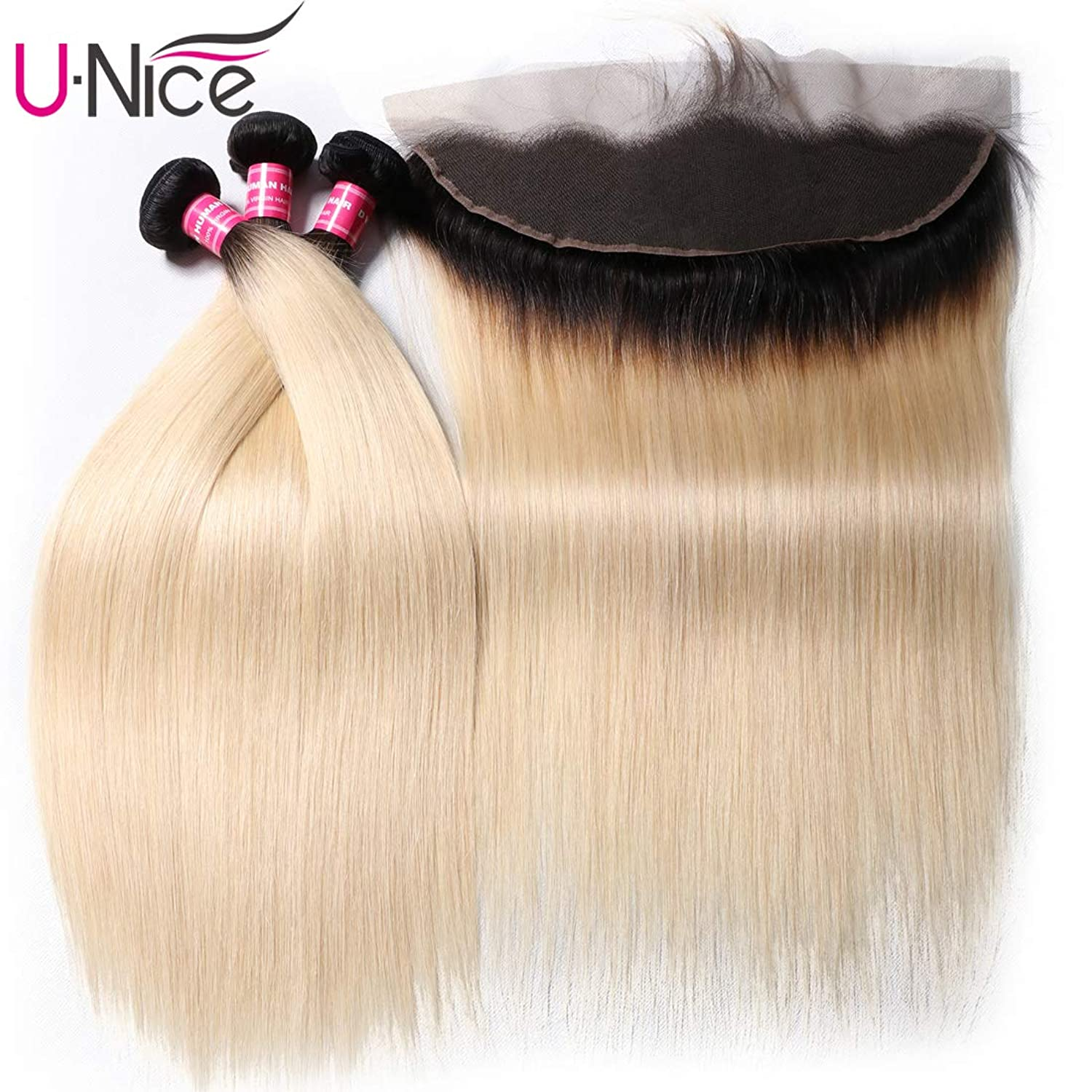 UNice Hair 10A Brazilian Dark Root Ombre Blonde Straight Hair Bundles with Free Part 13x4 Lace Frontal, Pre Plucked with Baby Hair, 100% Human Remy Hair (16 16 16+14 Frontal, 1b/613 Color)
