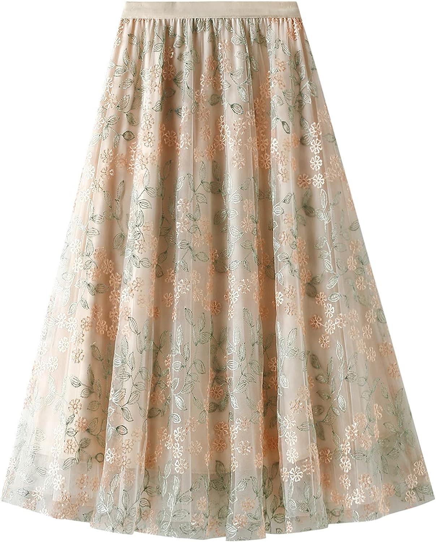 Women's Skirt Casual Floral Print Elastic High Waist Midi Mesh Pleated A-line Skirt (One Size)