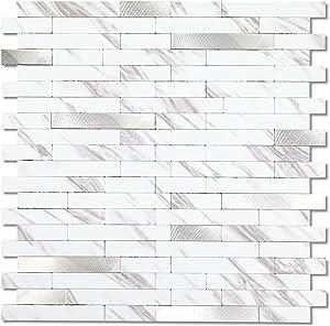 Peel and Stick Tile Backsplash, Backsplash Tile for Kitchen, Stick on Backsplash for Bathroom Vanities, Fireplace Décor, Laundry Table, Bedroom (10 Sheets in Carla)