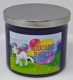 S&M Candle Factory 3 Wick Scented Soy Wax 14.5 oz Candle ~ 80 Hour Burn Time ~ Aromatherapy Soy Candles ~ Non-Toxic ~ 100% Yinzer Made in USA ~ Gift For Special Occasions (Unicorn Farts Grape Soda)