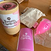 Femme Essentials Copa Menstrual + Caja de Almacenamiento Esterilizadora + Bolsa de Algodón | 100% de Silicona Hipoalergénica | Ecológica, Segura, ...